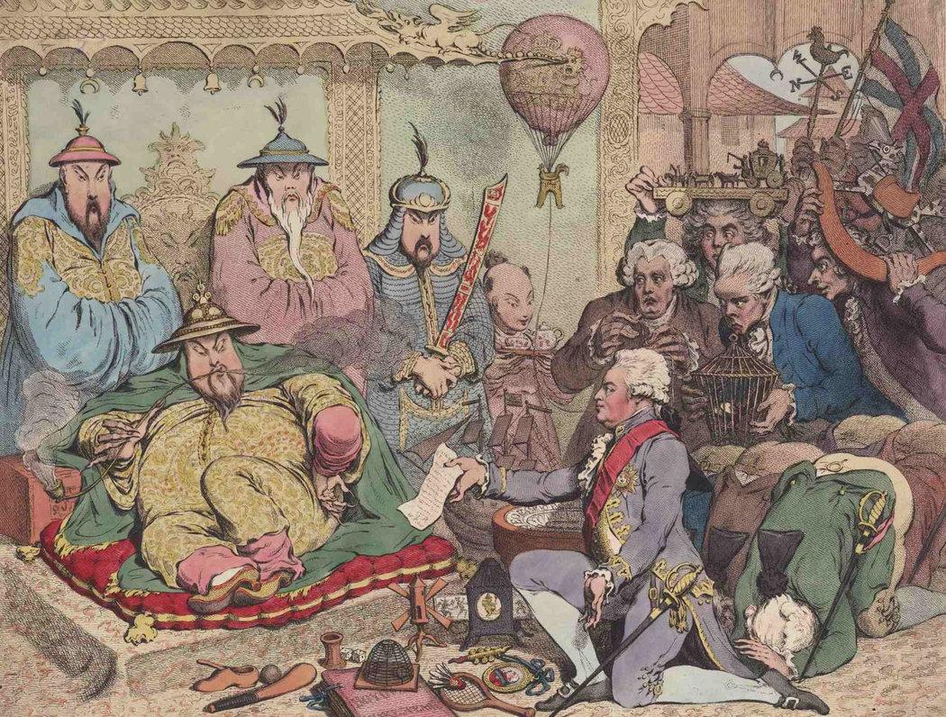"""一幅讽刺漫画描绘了马戛尔尼勋爵跪在乾隆皇帝面前呈送""""贡品""""的情景.jpg"""